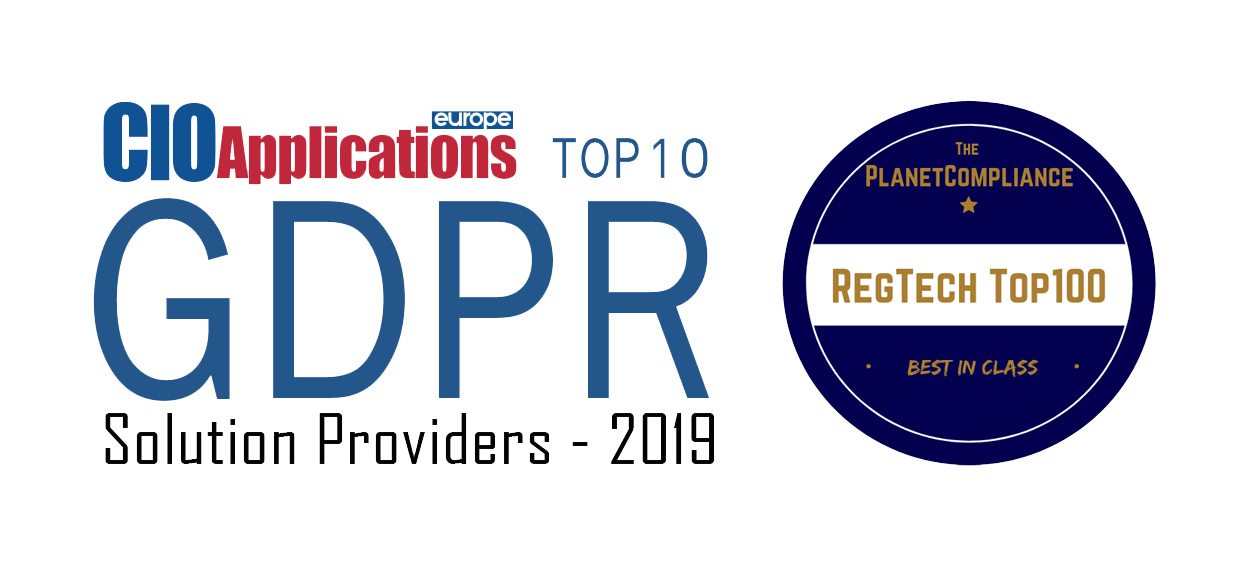 Logo combination for Top 10 GDPR Solution Provider and RegTech list.